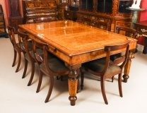 Antique Victorian Pollard Oak Snooker Dining Table & 8 Chairs 19th C