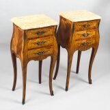 Antique Pair French Kingwood Bombe Bedside Chests 19th C