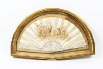 Antique French Framed Silk & Mother Pearl Fan 19th C