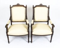 Antique Pair French Walnut Fauteuils Armchairs