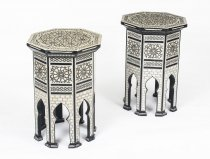 Vintage Pair Inlaid Damascus Mother of Pearl Side Tables Mid 20th C