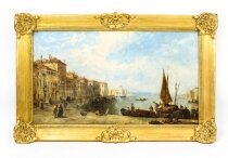 Antique Oil Painting Venetian Scene of The Grand Canal J.Vivian 19th C