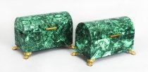 Vintage Pair Solid Malachite & Gilt Bronze Domed Casket 20th C