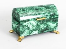 Vintage Solid Malachite & Gilt Bronze Domed Casket 20th C
