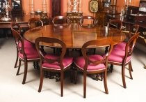 Vintage 6 ft 5 Diam & 34 Dining Table by William Tillman, Harrods & 10 Chairs 20th C