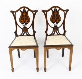 Antique Pair of Edwardian Inlaid Mahogany Side Chairs