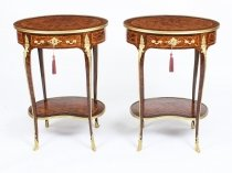 Antique Pair Ormolu Mounted Parquetry Occasional Tables 19th C