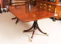 Antique Flame Mahogany Twin Pillar Regency Dining Table 19th C