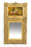 Antique Italian Parcel Gilt Trumeau Mirror Painting 19th C
