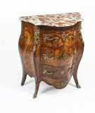 Antique French Walnut & Marquetry Commode Rouge Marble 19th Century