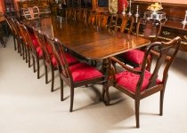 Vintage Dining Table by William Tillman, Harrods & 14 Queen Anne Chairs 20th C