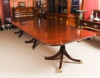 Vintage Regency Mahogany Triple Pillar Dining Table William Tillman 20th C