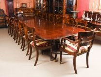 Vintage 3 pillar Dining Table by William Tillman & 12 chairs 20th C