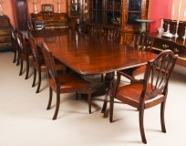 Vintage 3 Pillar Dining Table by William Tillman 20thC & 10 antique chairs C1880