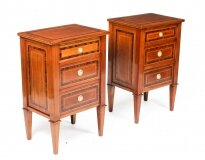 Antique Pair Italian Flame Mahogany Bedside Chests Cabinets 19th C