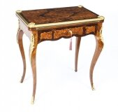 Antique French Burr Walnut Marquetry Card Writing Table 19th Century