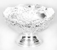 Vintage Silver Plated Embossed Cooler Punch Bowl 20th C