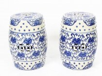 Vintage Pair Japanese Blue & White Porcelain Garden Seats 20th Century