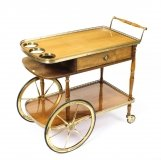 Mid Century English Birchwood Hostess Trolley Dry Bar 20th C