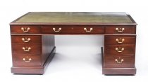Antique George III Mahogany Partners Pedestal Desk by Willson 19th C