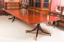 Vintage Mahogany Regency Style Twin Pillar Dining Table Mid 20th C