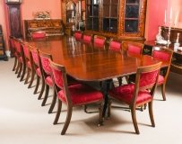 Vintage Twin Pillar Dining Table Mid 20th C & 14 Antique Dining Chairs 19th C