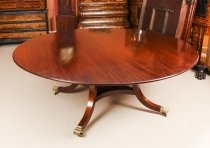 Vintage 6 ft 6& 34 Round Mahogany Table by William Tillman 20th Century