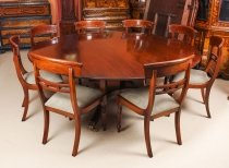 Vintage 6ft 6& 34 Round Table & 8 Chairs William Tillman 20th Century