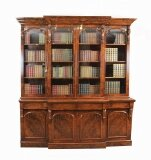 Antique Victorian Burr Walnut Breakfront Bookcase c1850 19th Century