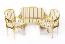 Bespoke Pair Armchairs & Sofa French Louis XVI Giltwood Suite