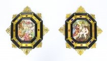 Antique Pair Italian Framed Capodimonte Porcelain Plaques 19th Century 51x45cm