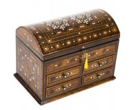 Antique Damascus Mother of Pearl and Specimen Wood Inlaid Table Chest 19th C