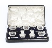 Antique English Cased Sterling Silver 12 Piece Condiment Set 1909