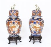 Antique Large Pair Japanese Imari Porcelain Vases on Stands c. 1870 19th C.
