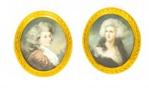 Antique Pair French Pastel & Gouache Portraits Mid 19th Century