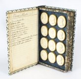 Antique Set 24 Book Framed Plaster Grand Tour Intaglios Emperors Artists 19th C