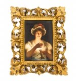 Antique Berlin KPM Porcelain Plaque Young Lady with Candle 19th C