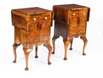Antique Pair English Queen Anne Revival Burr Walnut Bedside Cabinets 19th C