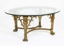 Stunning Bronze Hollywood Regency Oval Coffee Table Mid 20th Century