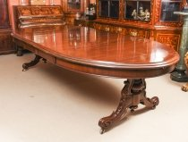 Antique Victorian 10ft Mahogany Twin Base Extending Dining Table 19th C