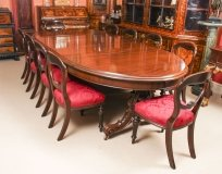 Antique Victorian Mahogany Twin Base Dining Table &10 chairs 19th Century