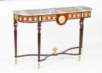 Vintage French Ormolu & Porcelain Mounted Console Table Mid 20th Century