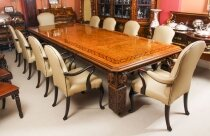 Antique 12ft Elizabethan Revival Pollard Oak Dining Table & 10 Chairs 19th C