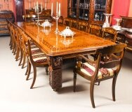 Antique 12ft Elizabethan Revival Pollard Oak Dining Table 19th C and 14 chairs