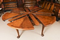 Antique 6ft diam Walnut Jupe Action Dining Table by Gillows Late 19th Century