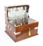 Antique English Victorian Oak Three Crystal Decanter Tantalus Dry Bar C1870