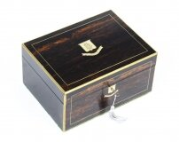 Antique Victorian Coromandel & Brass Banded Box 19th C