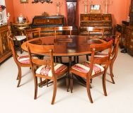 Vintage 5ft 6& 34 Round Table by Millwood & 6 dining chairs 20th Century