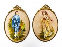 Antique Pair Porcelain Wall Plaques Ormolu Frames C1880 19th Century