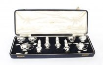 Antique English Cased Sterling Silver 14 Piece Condiment Set London 1938